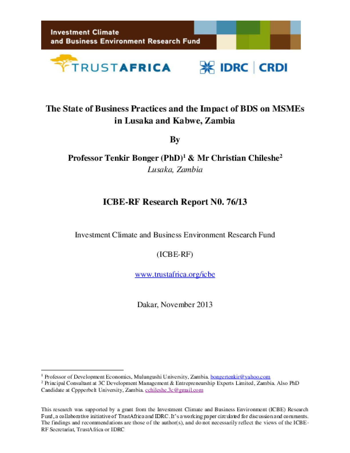 The State of Business Practices and the Impact of BDS on MSMEs in Lusaka and Kabwe, Zambia