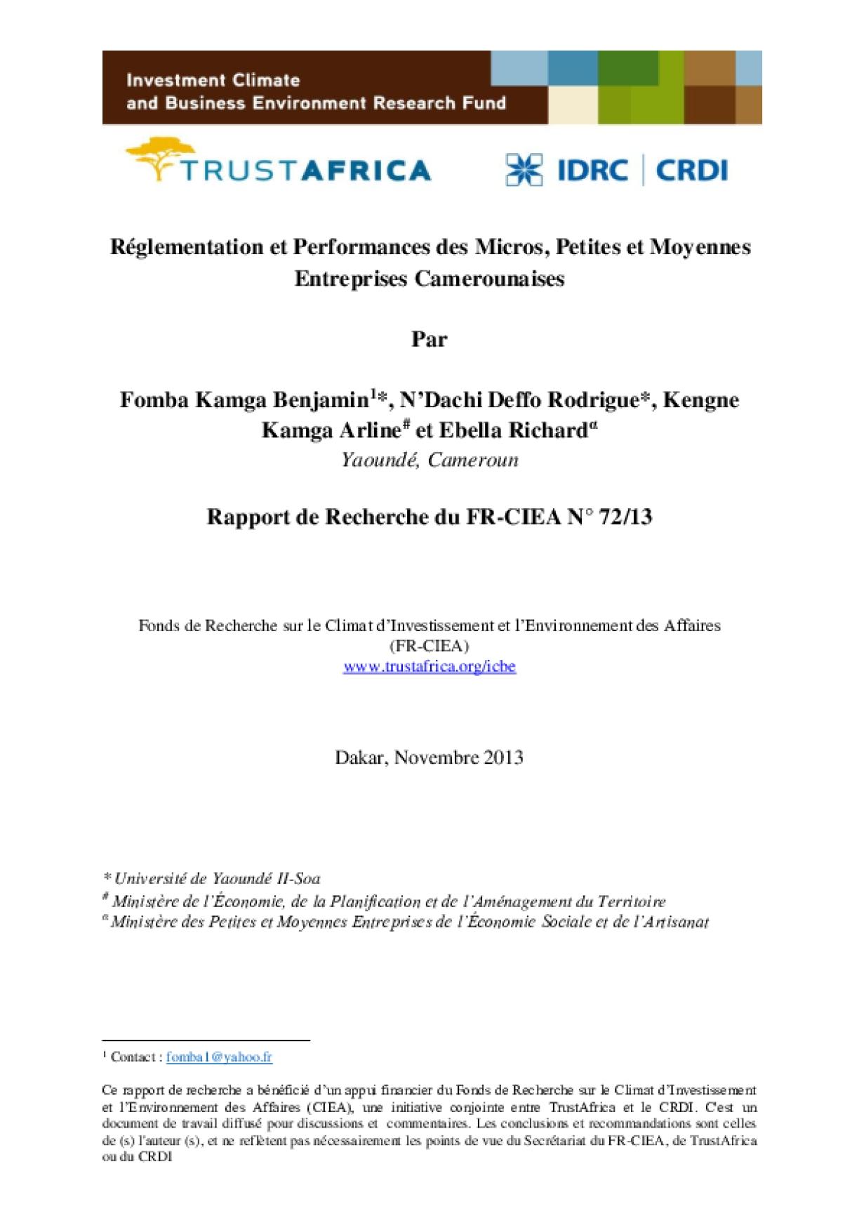 Réglementation et Performances des Micros, Petites et Moyennes Entreprises Camerounaises