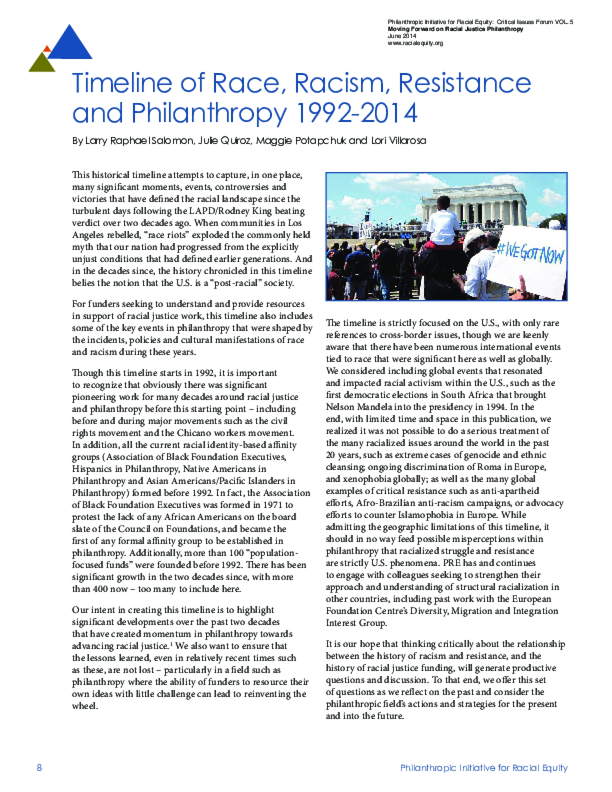 Timeline of Race, Racism, Resistance and Philanthropy 1992-2014