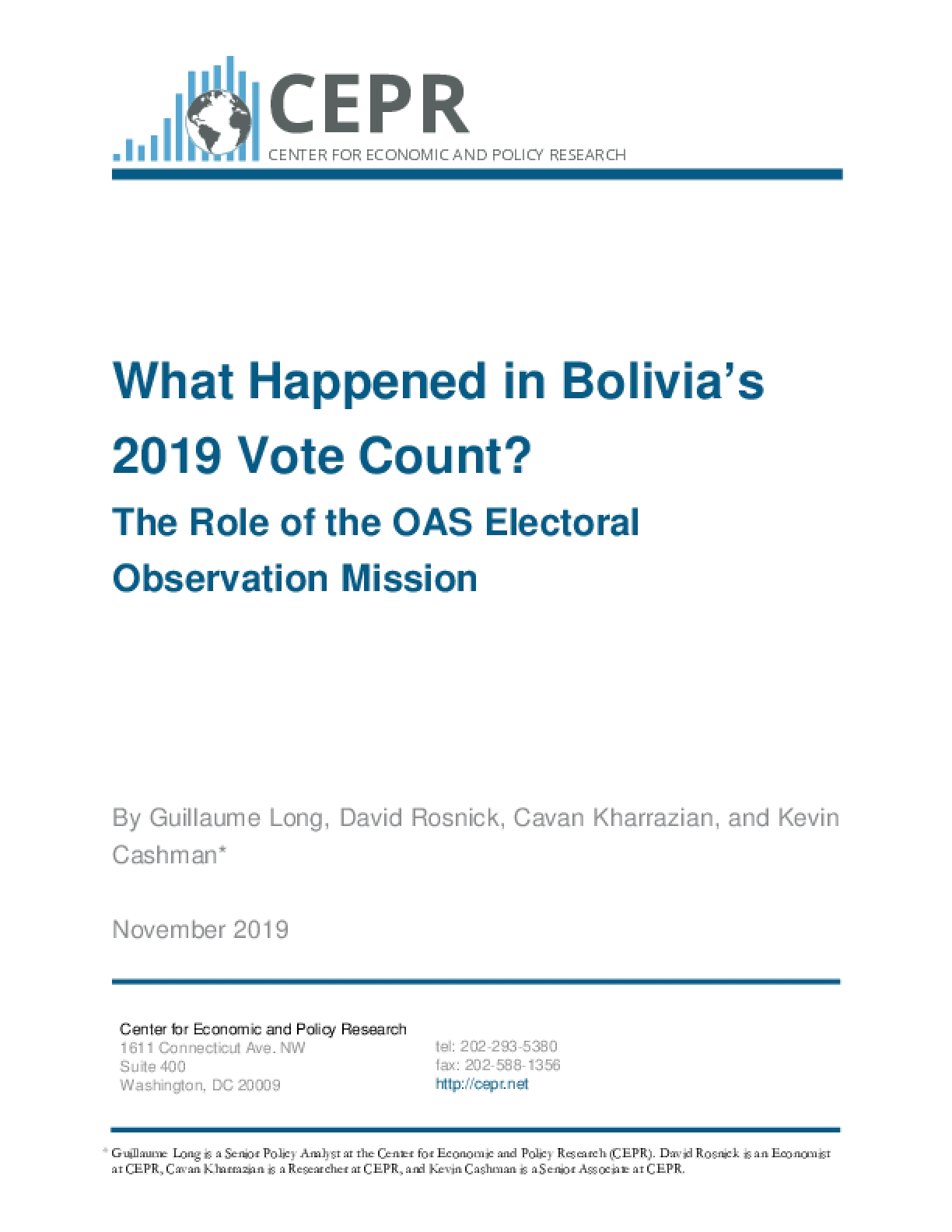 What Happened in Bolivia's 2019 Vote Count? The Role of the OAS Electoral Observation Mission