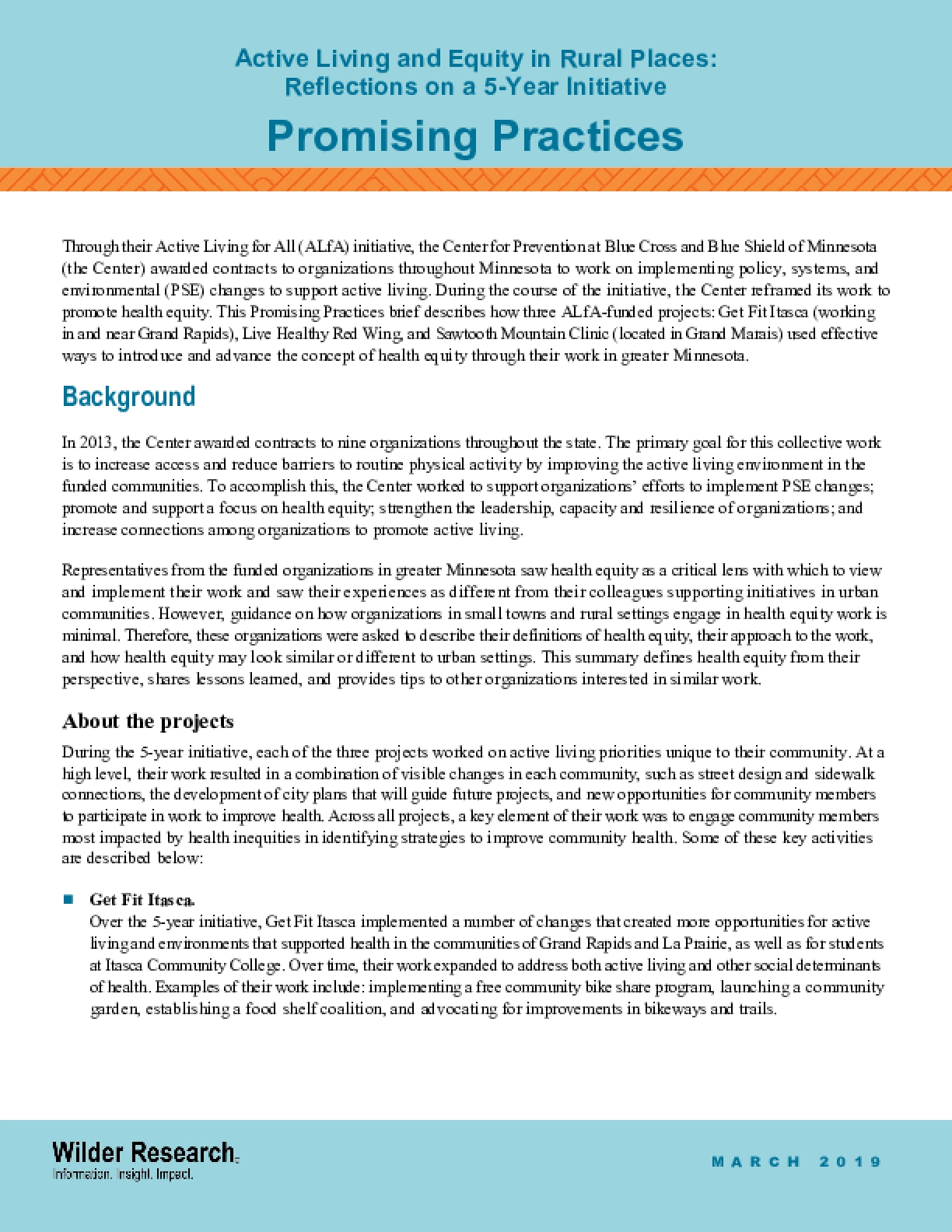 Promising Practices: Active Living and Equity in Rural Places: Reflections on a 5-Year Initiative