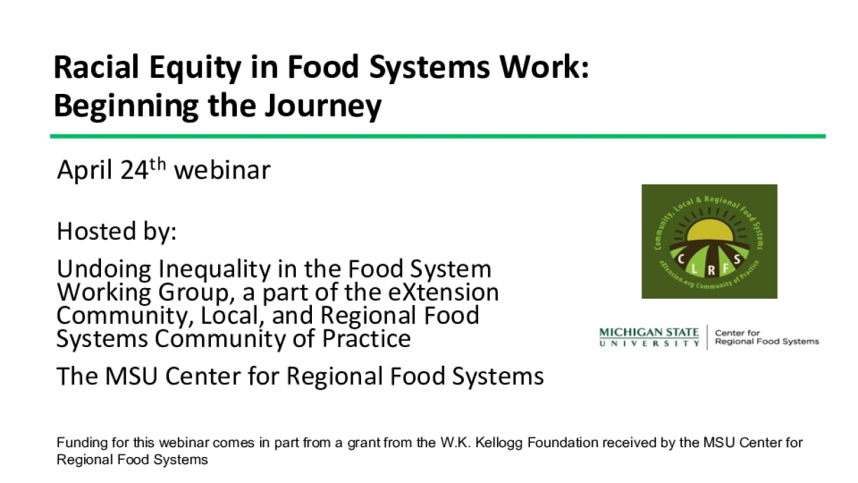 Racial Equity in Food Systems Work: Beginning the Journey