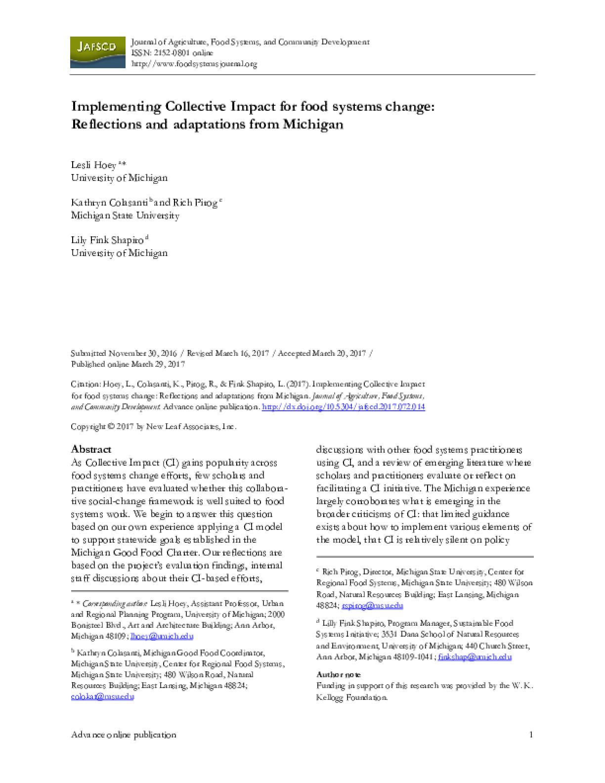 Implementing Collective Impact for Food Systems Change: Reflections and Adaptations from Michigan