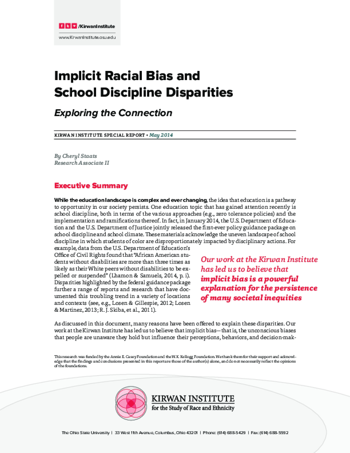 Implicit Racial Bias and School Discipline Disparities: Exploring the Connection