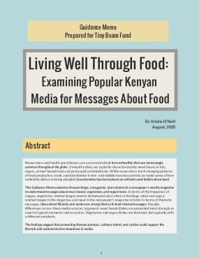 Living well through food: Examining messages about food in popular Kenyan media