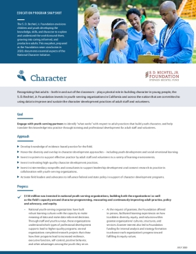 Education Program Snapshot Reflection: Character