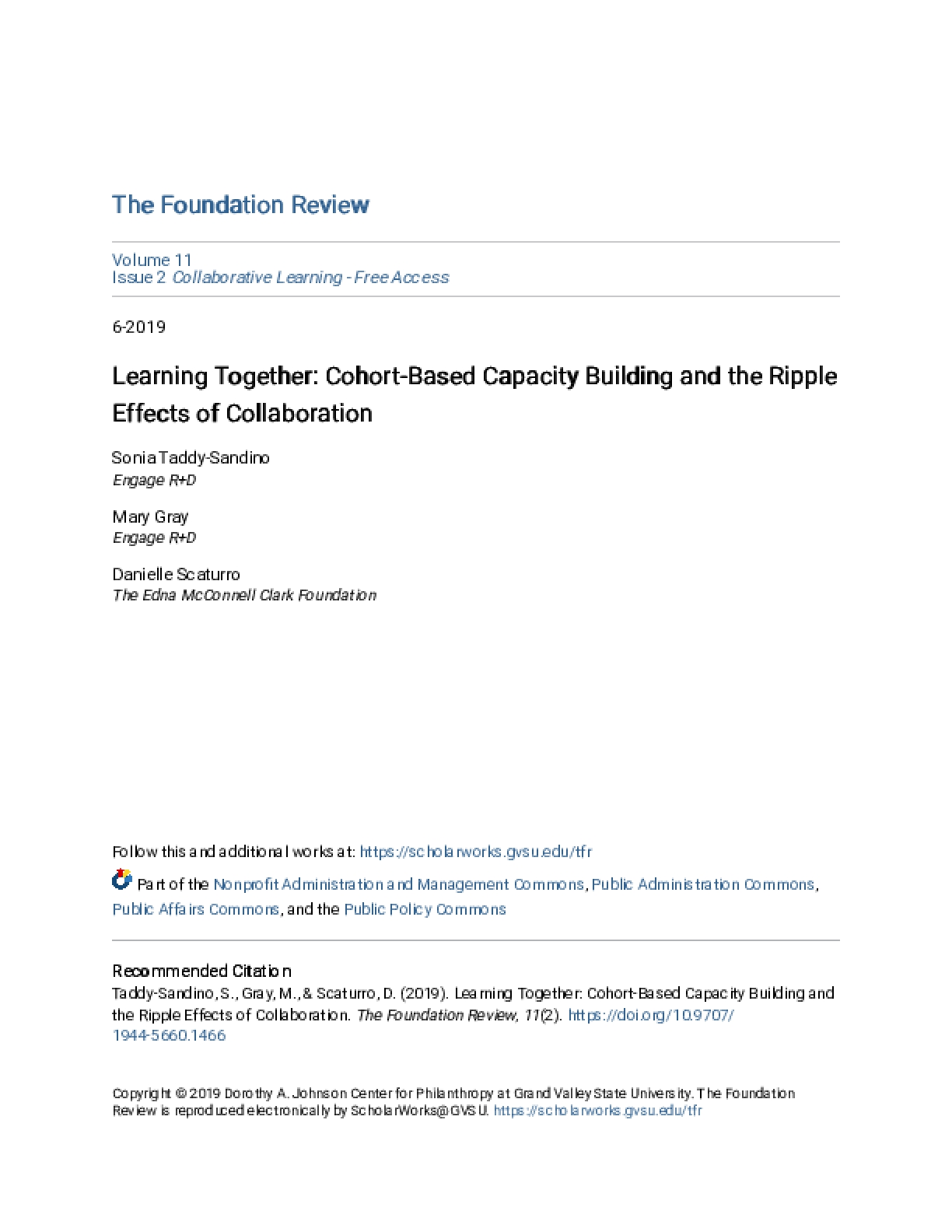 Learning Together: Cohort-Based Capacity Building and the Ripple Effects of Collaboration