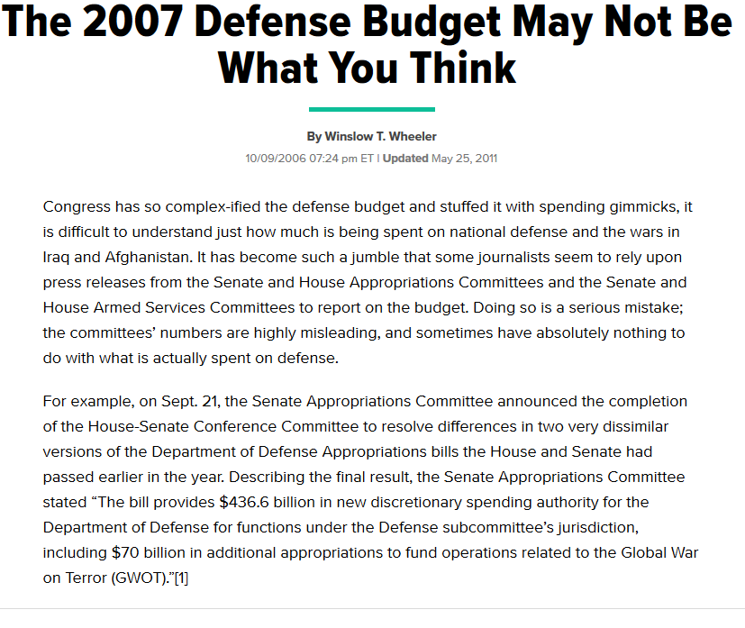The 2007 Defense Budget May Not Be What You Think