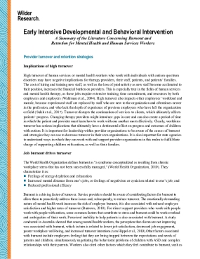 Early Intensive Developmental and Behavioral Intervention: A Summary of the Literature Concerning Burnout and Retention for Mental Health and Human Services Workers