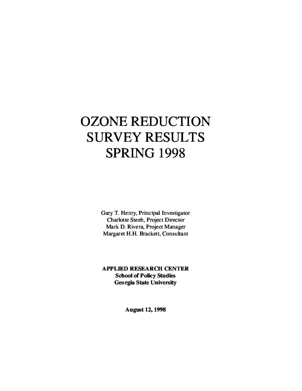 Ozone Reduction Survey Results: The Spring 98 Report