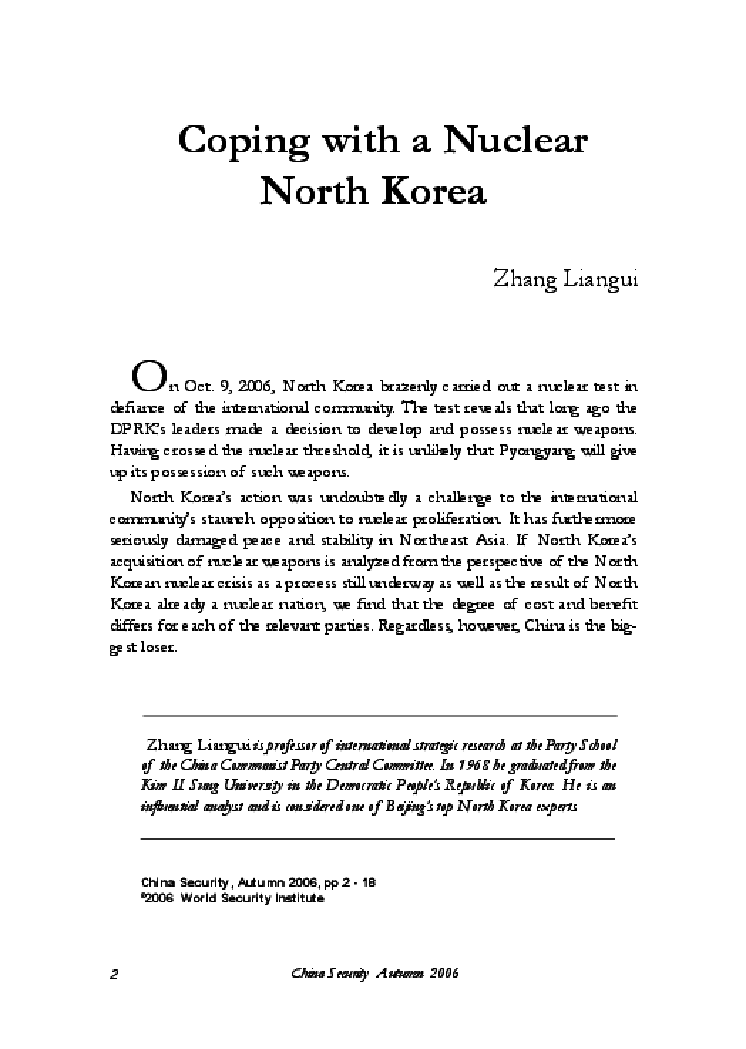 Coping with a Nuclear North Korea