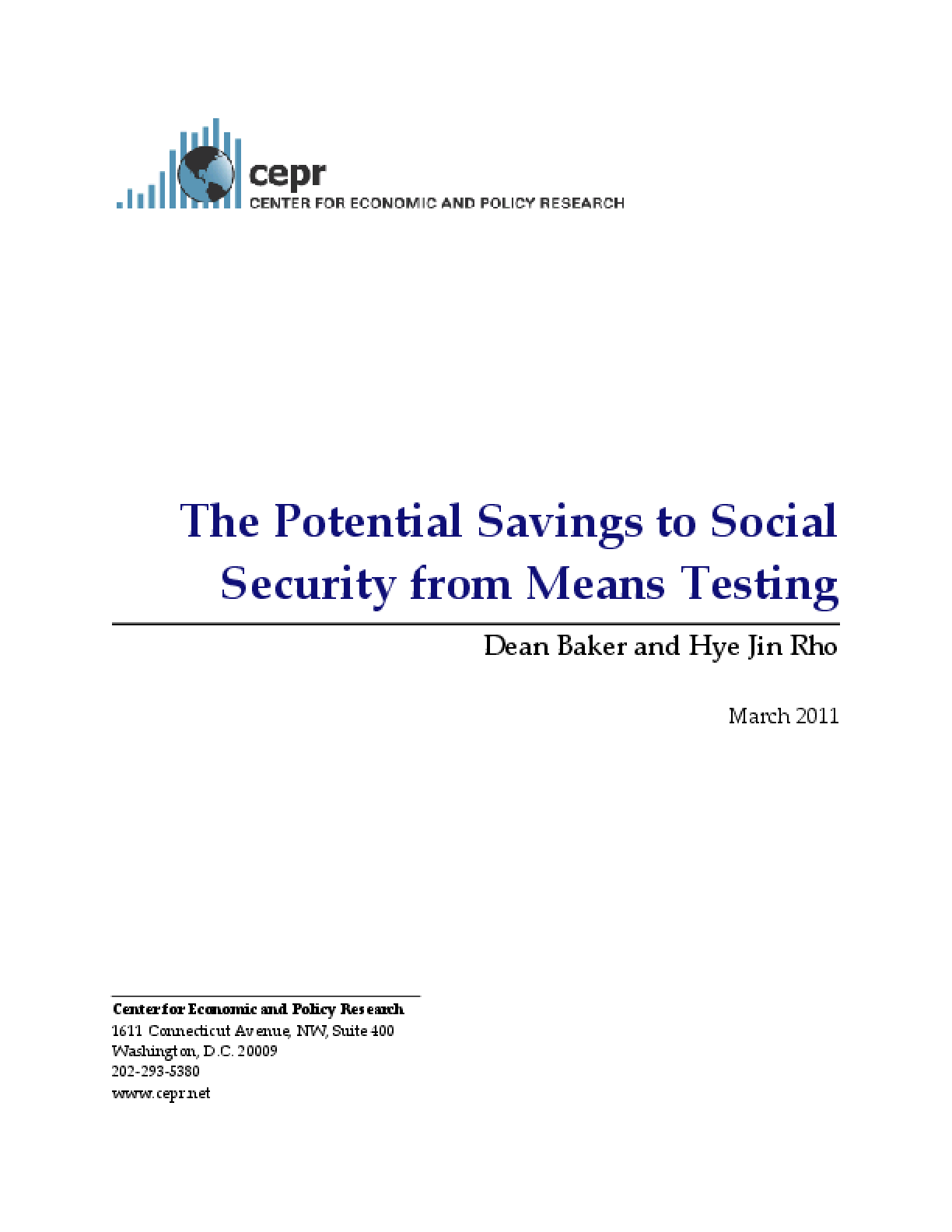 The Potential Savings to Social Security from Means Testing