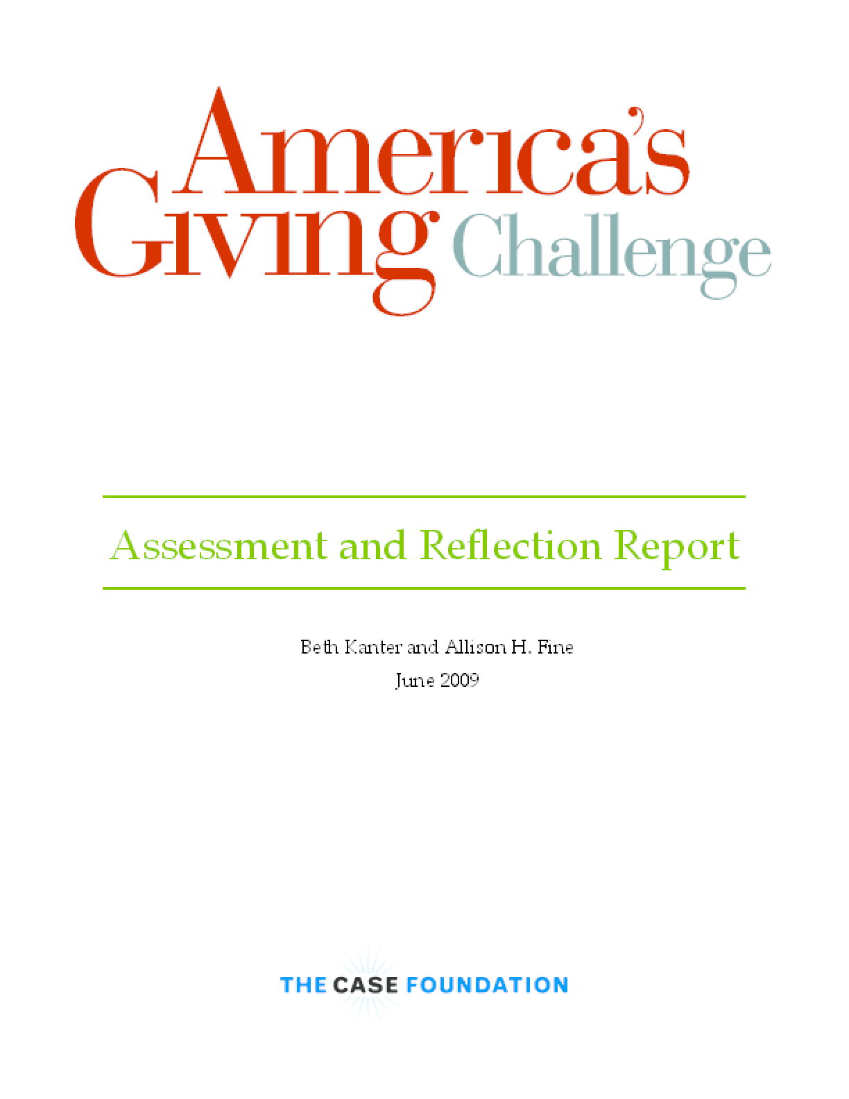 America's Giving Challenge: Assessment and Reflection Report
