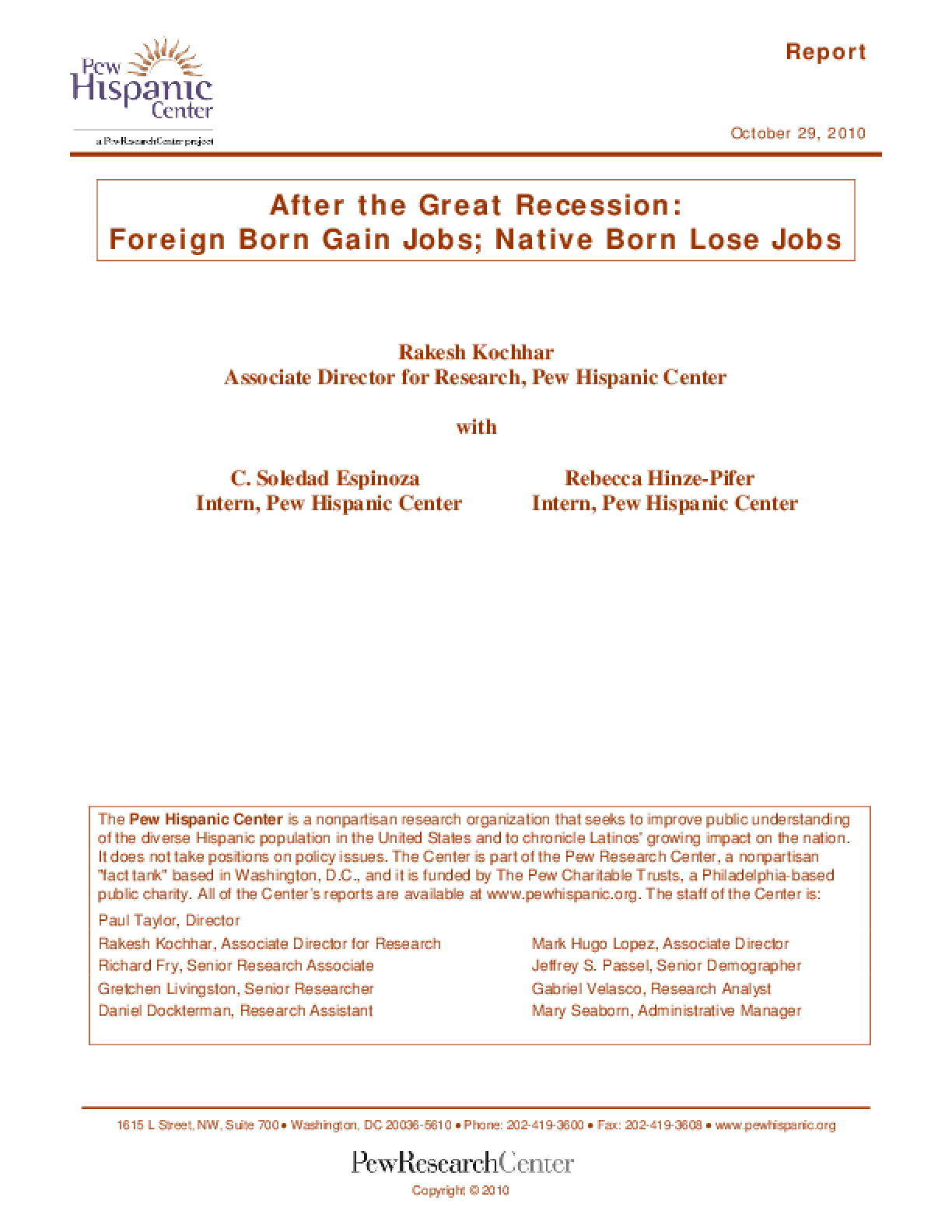 After the Great Recession: Foreign Born Gain Jobs; Native Born Lose Jobs