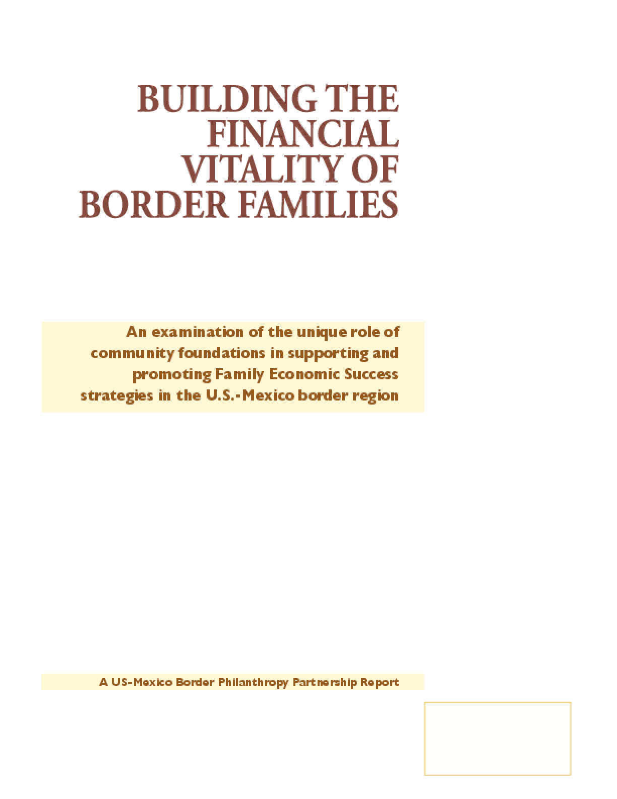 Building the Financial Vitality of Border Families