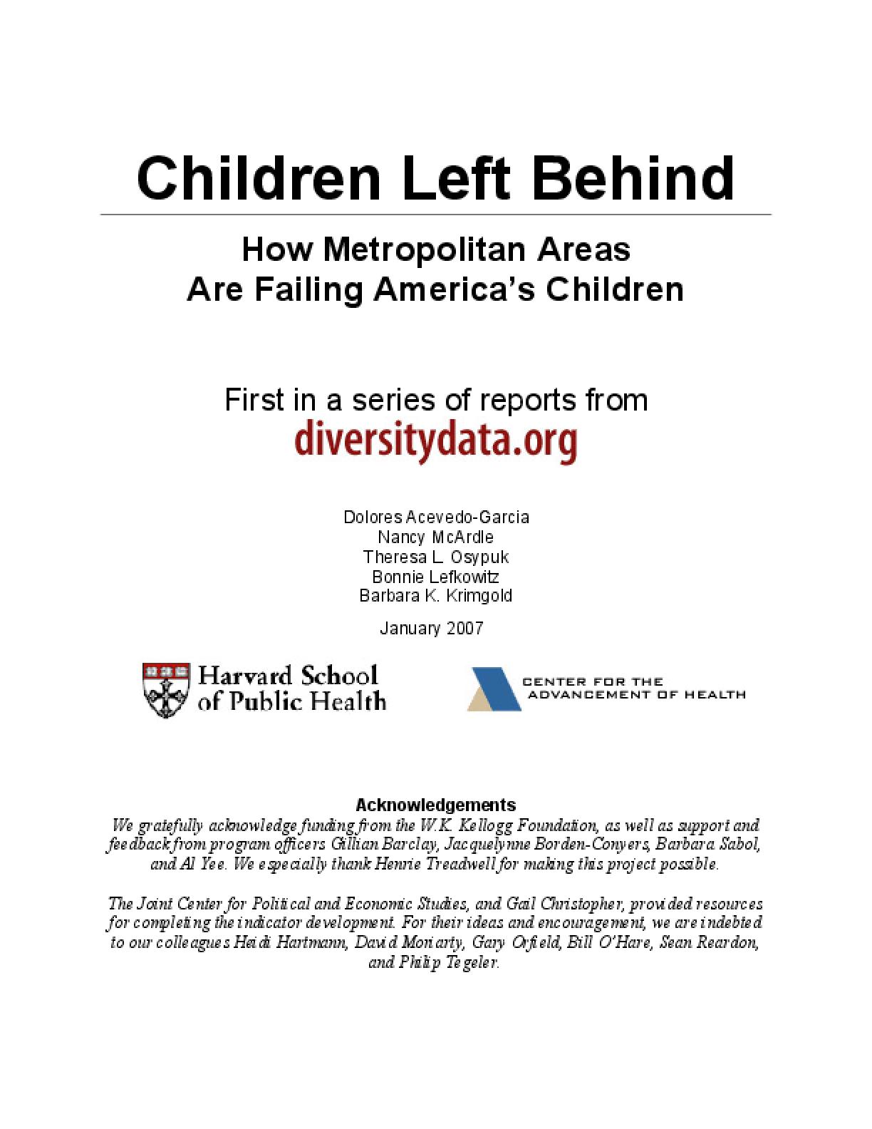 Children Left Behind: How Metropolitan Areas Are Failing America's Children