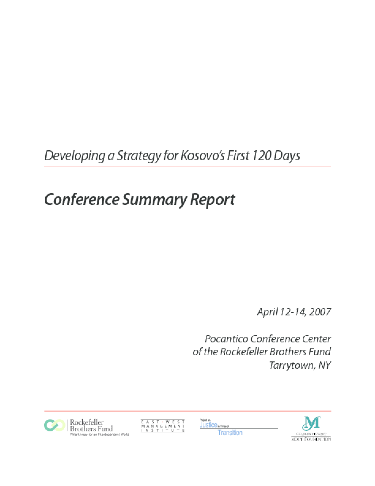Developing a Strategy for Kosovo's First 120 Days: Conference Summary Report
