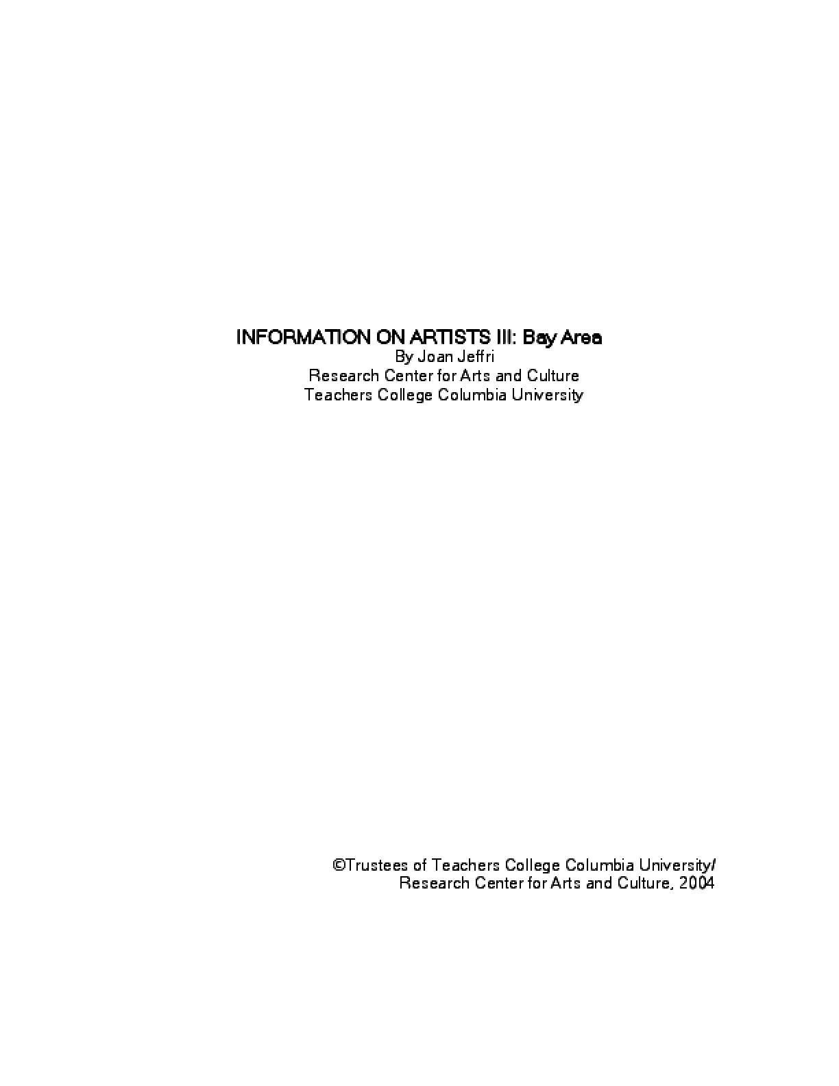 Information on Artists III: Bay Area